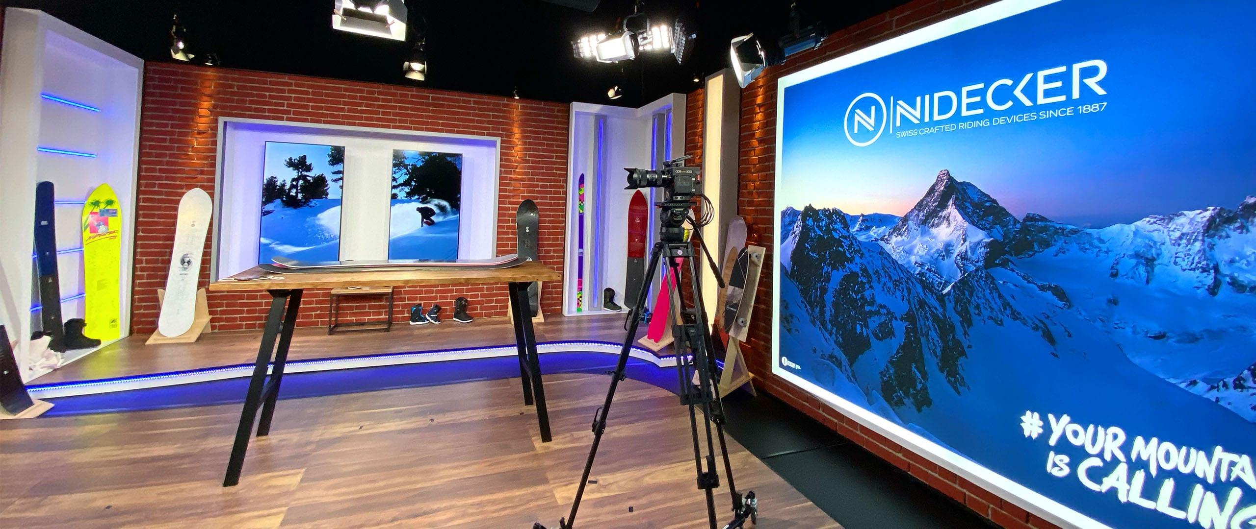 Le Go-studio préparé pour Nidecker lors du tournage